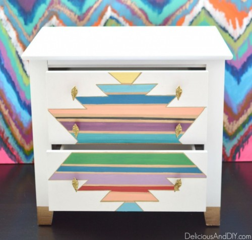 DIY Aztec Printed Nightstand Makeover