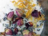 herbal bath salts with dried botanicals