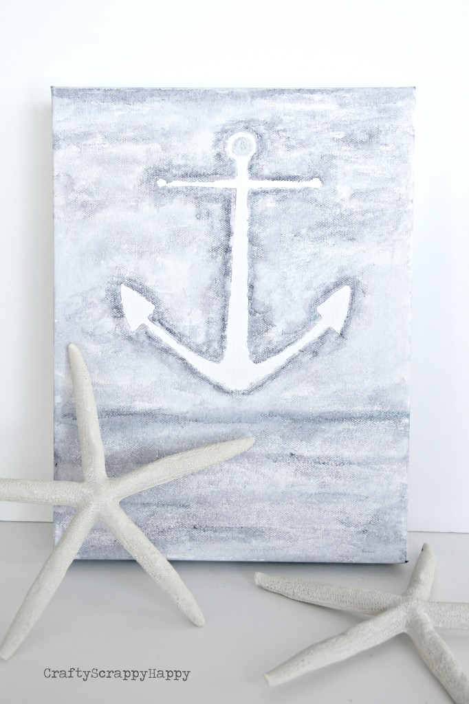 16 DIY Beach Inspired Wall Art Ideas Water Color Anchor Canvas Via