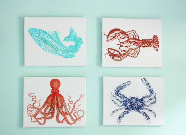 16 DIY Beach Inspired Wall Art Ideas Sealife Canvas Art Via