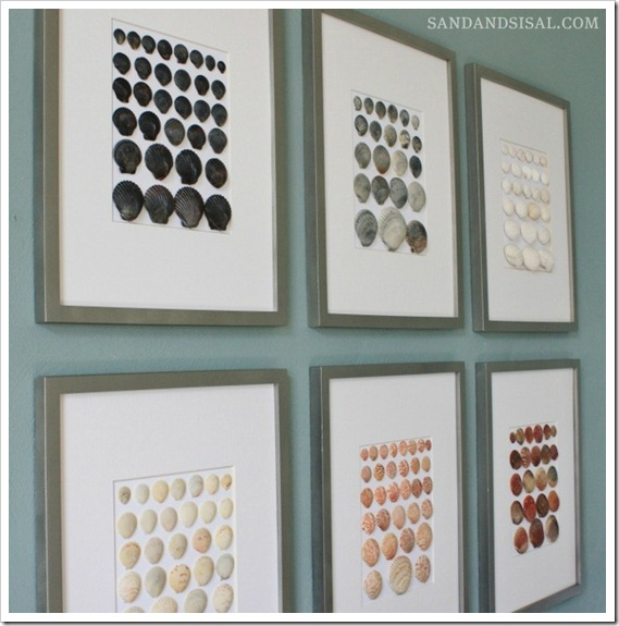 16 DIY Beach Inspired Wall Art Ideas Shell Wall Art Via
