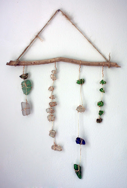 sea glass wall hanging (via visiblymoved)