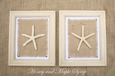 starfish and burlap wall art