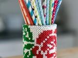 Diy Beaded Tin Can Pencil Holder