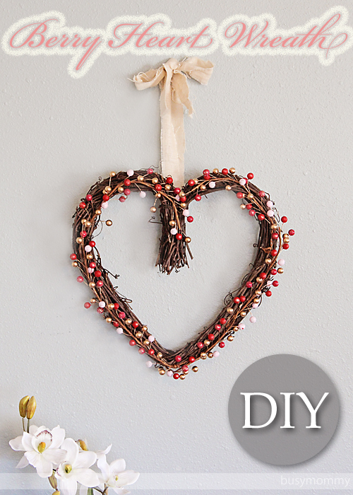 DIY Berry Heart Wreath For Valentine's Day