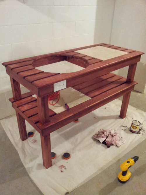 6 diy big green egg table projects shelterness for Easy entry cart plans