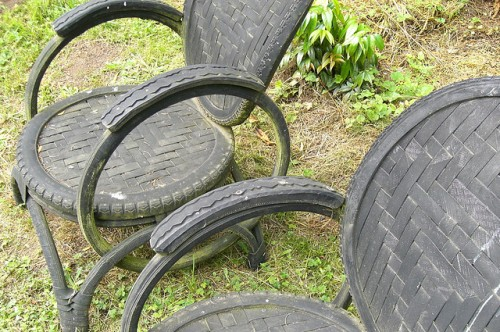 DIY Bike Tire Chairs