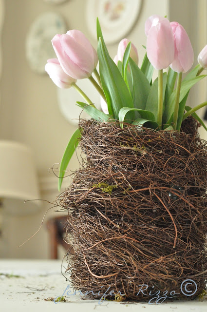Diy Birds Nest Vase As An Easter Centerpiece