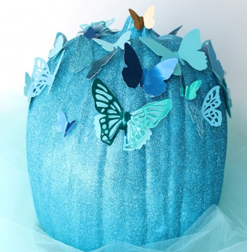 DIY Blue Cinderella Butterfly Pumpkin