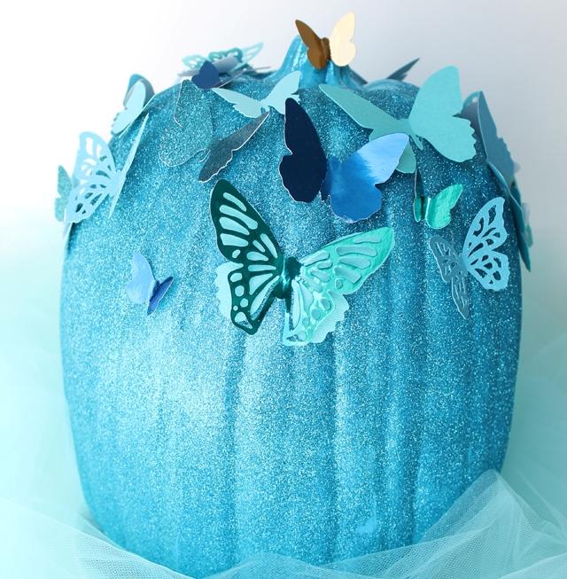 DIY Blue Cinderella Butterfly Pumpkin