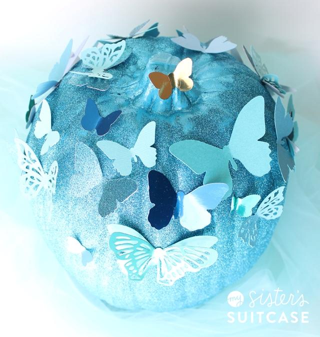 Picture Of diy blue cinderella butterfly pumpkin  2