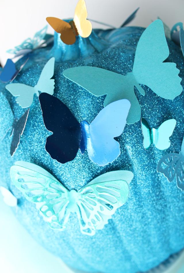 Picture Of diy blue cinderella butterfly pumpkin  5