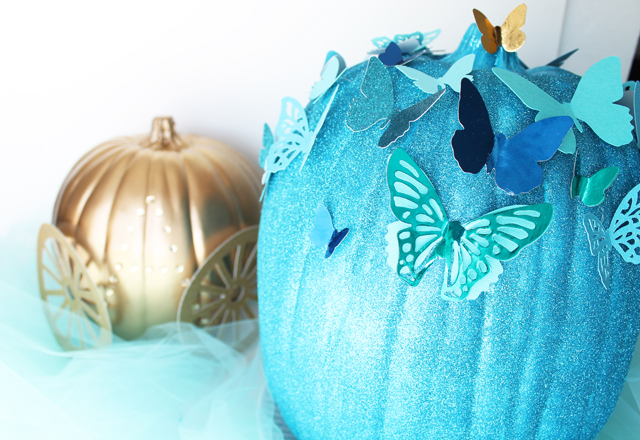 Picture Of diy blue cinderella butterfly pumpkin  6