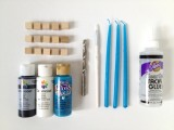 Diy Blue Mini Taper Candle Holders