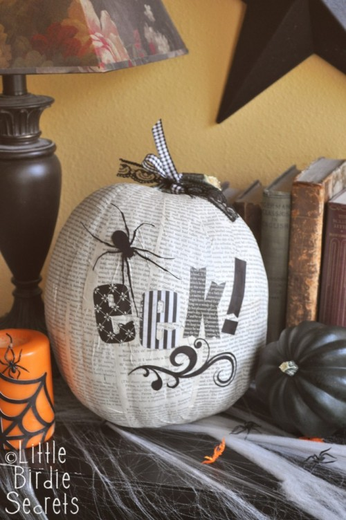 DIY Book Page Decoupage Halloween Pumpkin