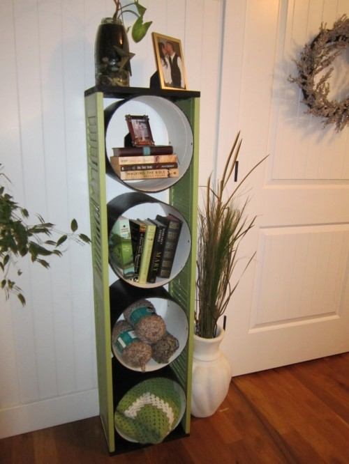 DIY Bookcase Made Of Concrete Forms And Old Shutters