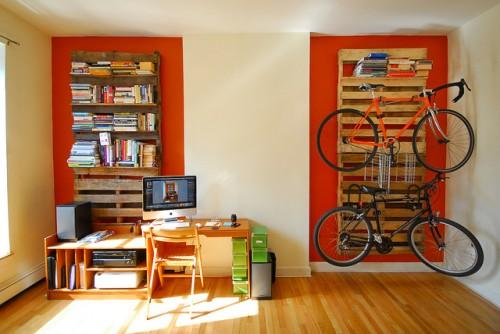 Diy Bookshelves And Bike Racks Of Wood Pallets