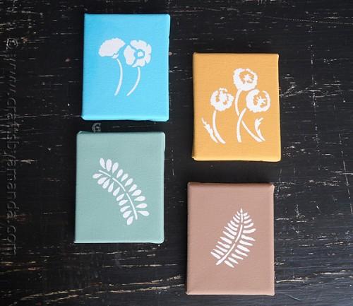 stenciled botanicals on canvas (via craftsbyamanda)
