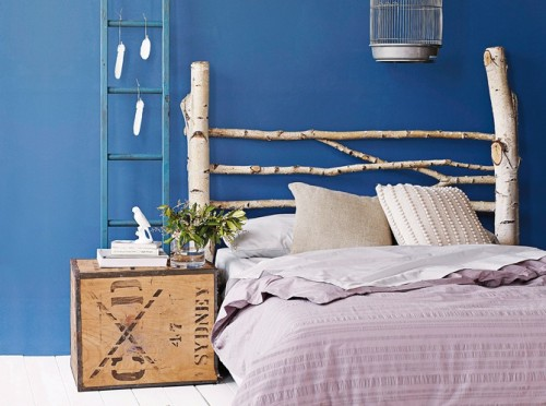 DIY Headboard of Birch Branches
