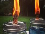 blue mason jar bug repellent candles