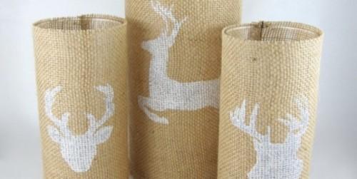 Diy Burlap Candleholders With A Deer Pattern