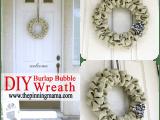 olive burlap bubble wreath