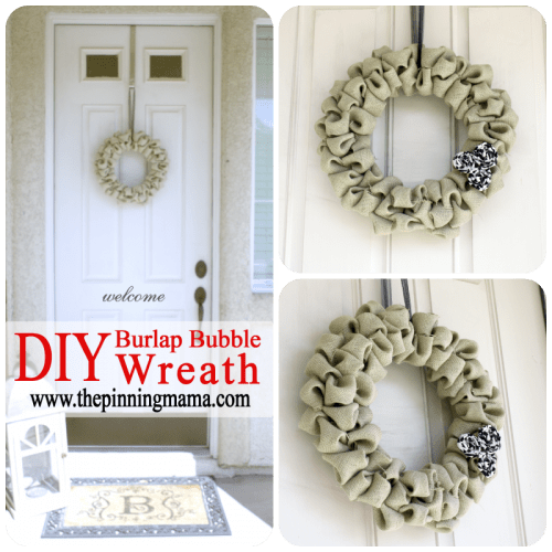 olive burlap bubble wreath (via thepinningmama)