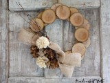 burlap and wood wreath