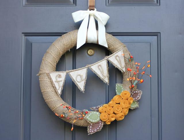 burlap banner wreath