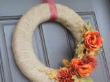 burlap and flower wreath