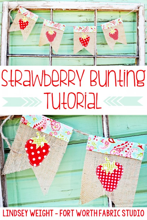 strawberry burlap bunting