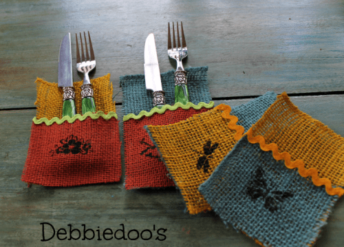 burlap utensil holders (via shelterness)