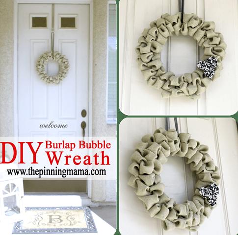 burlap bubble wreath (via shelterness)