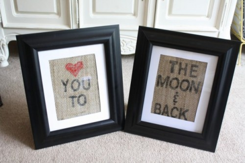 stamped burlap wall art (via latelywithkatie)