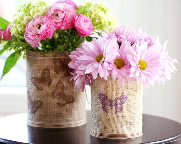 burlap vase