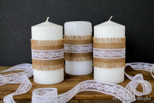 burlap and lace candles (via domesticallyblissful)
