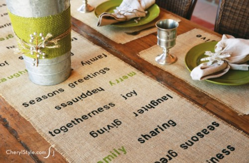stenciled burlap runner (via everydaydishes)