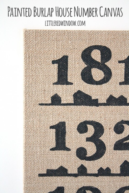 burlap house and number canvas (via littleredwindow)