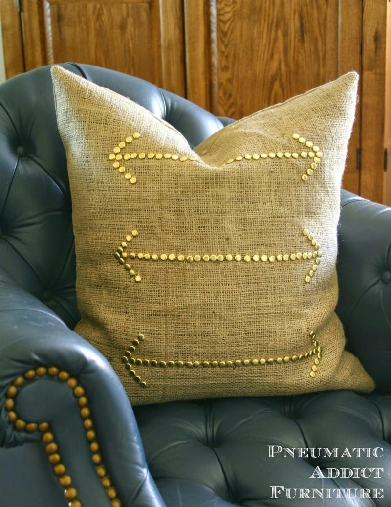 studded burlap pillow