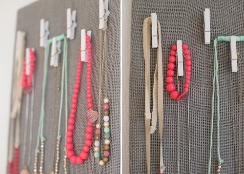 DIY Burlap Jewelry Organization Board