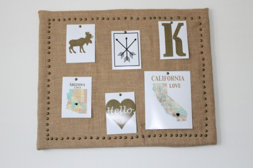DIY Burlap Pinboard With A Brass Pin Frame