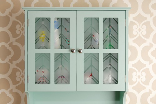 stenciled doors cabinet revamp (via eatknitanddiy)