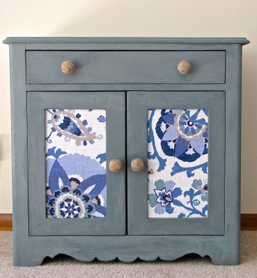 paint and fabric cabinet makeover (via thewitsblog)