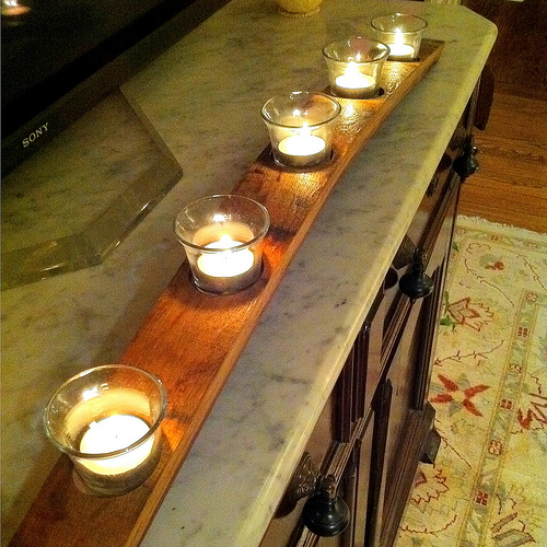 Diy Candle Holder Of Wine Barrel Plank