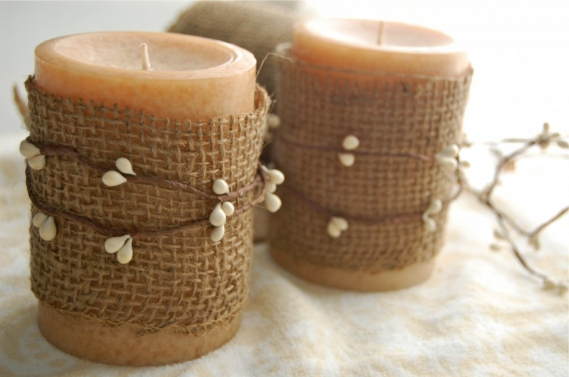 berry garland wrapped candles
