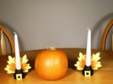 paper leaves candleholders