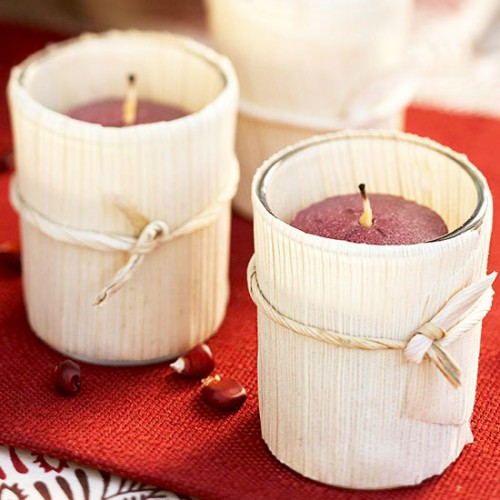 husk wrapped votives (via bhg)