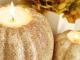 glitter pumpkin candleholders