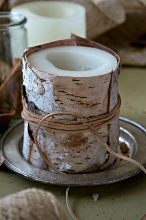 birch bark candle (via justasmidgen)