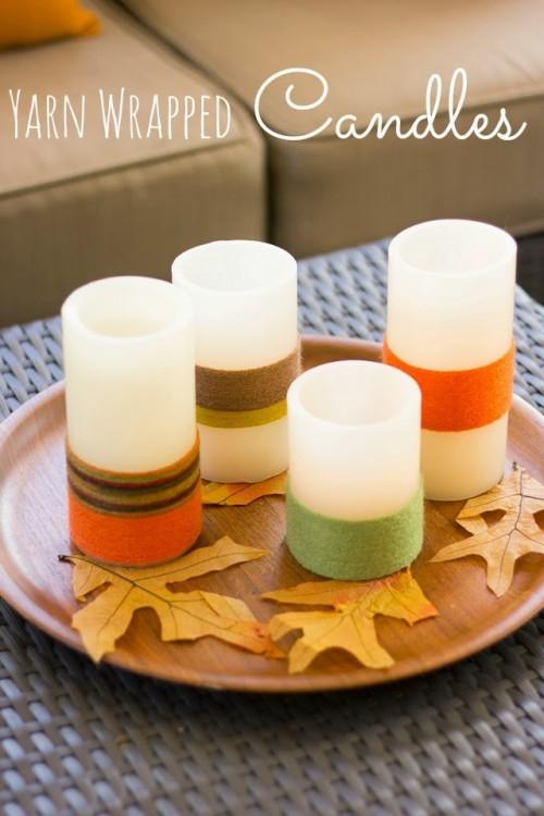 yarn wra[[ed candles (via designimprovised)